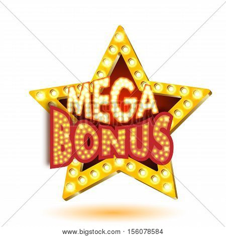Vector illustration of banner mega bonus star with lights isolated on a white background. Easily editable.