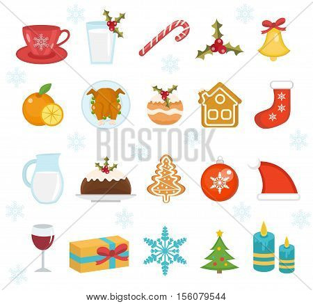 Christmas icons set. Set of traditional christmas symbols. Christmas design elements. Holiday dinner food icons. Vector illustration