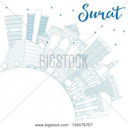 Outline Surat Skyline with Blue Buildings and Copy Space. Business Travel and Tourism Concept with Historic Architecture. Image for Presentation Banner Placard and Web Site.
