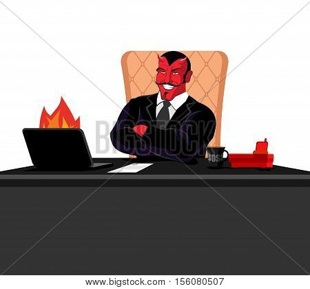 Satan Boss Sitting In Office. Devil Of Workplace. Red Demon At Work. Leader At Job Table. Laptop And