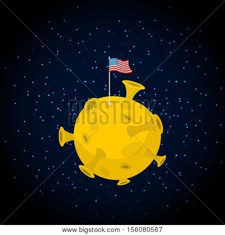 America On Moon. Usa Flag On Yellow Planet. Dark Space And Stars. Astronomy Illustration