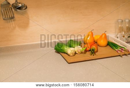dummy ripe fruits and vegetable in a morden kitchen