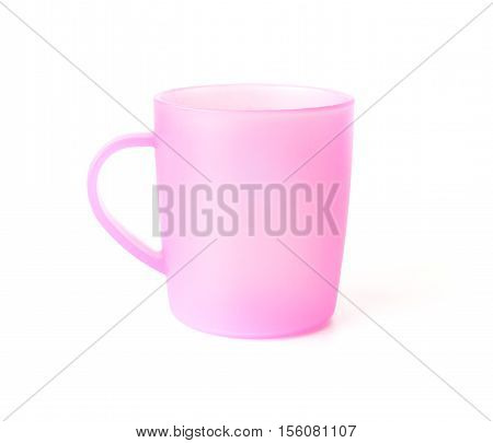 pink plastic cup on a white background