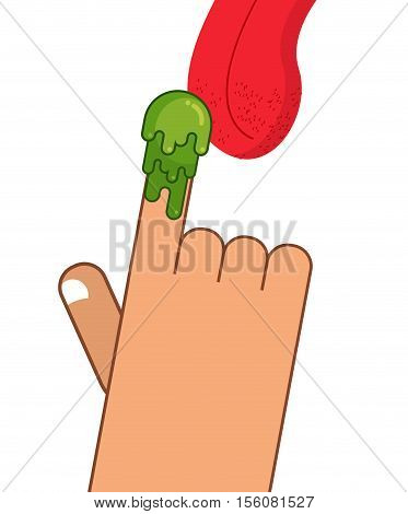 Booger On Finger. Tongue Licking Snot. Eat Snivel. Green Nasty Wad Of Mucus