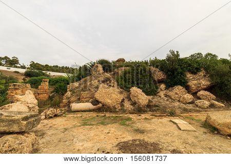 Ancient Ruins Of Baths At Tunisia, Carthage