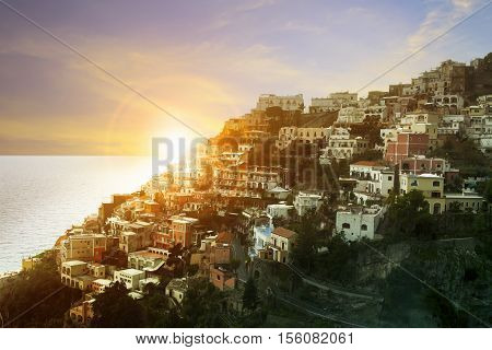 beautiful scenic of positano town mediterranean coast line south italy important traveling destination