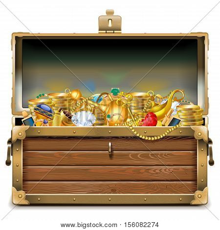 Vector Wooden Chest with Gold isolated on white background
