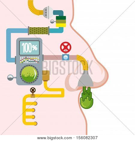Snot production. Excretory system of person. Automated line for industry snivel. Booger factory. technology manufacture of green slime in human head