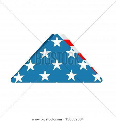 Folded Us Flag Triangle Symbol Of Mourning. National Symbol Of United States Of Sorrow. American Ban