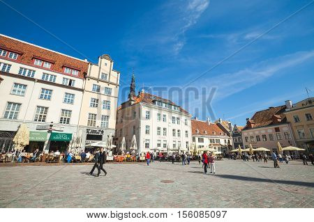 Tourists On Town Hall Square In Tallinn