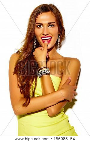 Funny crazy glamor stylish sexy smiling beautiful young sport woman model in summer bright yellow dress
