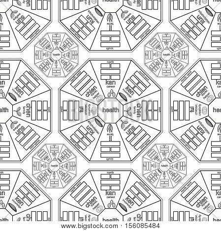Coloring Seamless Pattern Square Chinese Feng Shui Bagua. Vector Illustration
