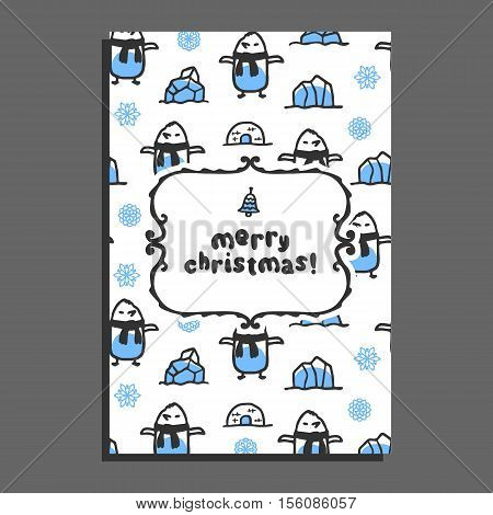 Merry christmas greeting card template with cute cartoon penguin. Vector doodle icebergs, igloo. Arctic bird wears scarf