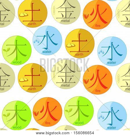 Chinese  Of The Five Basic Elements Of The Universe With Hieroglyphs Vector Illustration