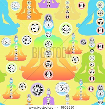 Seamless Pattern Man Sitting In Lotus Position Meditating With Chakra Vector Illustration