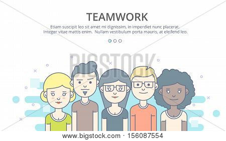 Web page design template of company profile, teamwork, corporate business workflow, career opportunities, team skills, management. Flat layout style, business concept web vector illustration