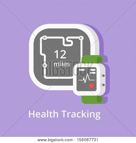 Vector fitness tracker icon. Showing health condition and miles with smart bracelet or heart-rate watch. Wearable technology icons. Health app screens.