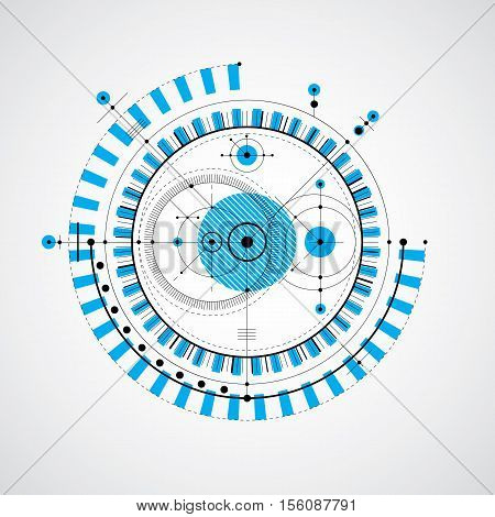 Vector Engineering Technological Background, Futuristic Technical Plan, Mechanism In Blue Color. Mec