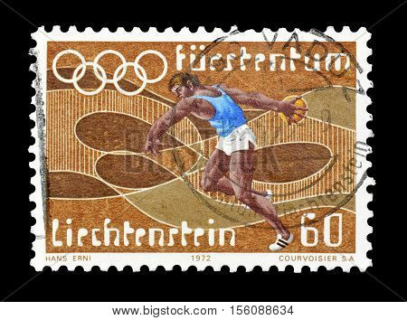 LIECHTENSTEIN - CIRCA 1972 : Cancelled postage stamp printed by Liechtenstein, that shows Discus throwing.