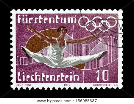 LIECHTENSTEIN - CIRCA 1972 : Cancelled postage stamp printed by Liechtenstein, that shows Gymnastics.