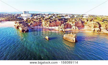 View on Praia da Rocha in the Algarve Portugal