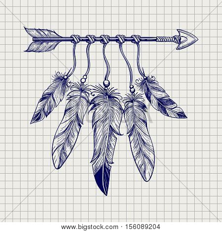 Ball pen sketch arrow with feathers on notebook page. Vector illustration