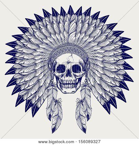 Ball pen sketch skull and native american headdress vector