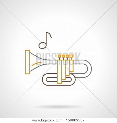 Symbol of brass wind instrument. Trumpet and one note. Melodies of orchestra or jazz. Musical shop items. Flat black and yellow line vector icon.