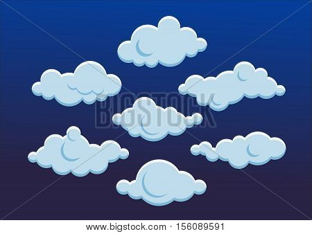 Cloud icons. Cloud icon flat. Cute white clouds. Vector illustration