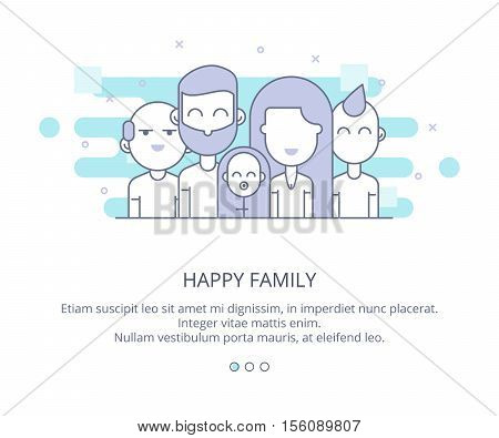 Web page design template of Happy Family Flat layout style, grandparents, parents, kids. Line business concept web vector illustration. Flat Layout Style, Line Business Concept, Vector Illustration
