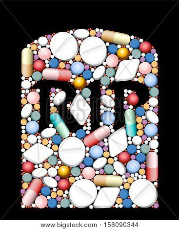 RIP - tombstone built of pills and capsules as a symbol for overdose, excessive amount or incompatibility of drugs.