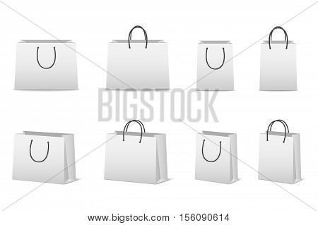 Blank paper shopping bags set isolated on white. Vector EPS10 illustration.
