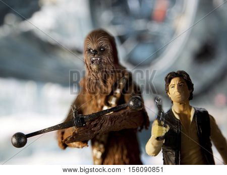 Han Solo and Chewbacca Star Wars Hasbro Black Series action figures recreate a scene in Docking Bay 94 from Star Wars A New Hope