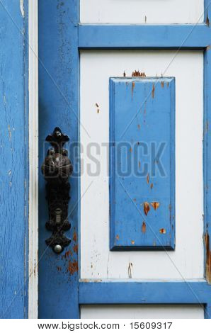 beautiful blue and white door