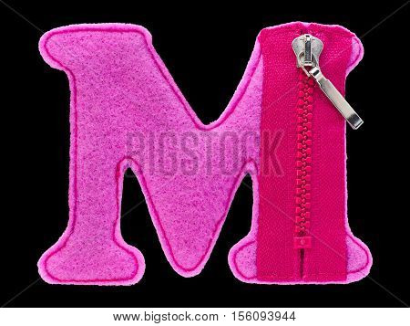 Letter M of the alphabet made of pink felt isolated on black background. Cyrillic Russian alphabet set. Font for children with educational pictures
