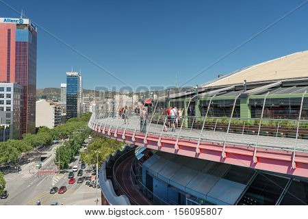 BARCELONA SPAIN- AUGUST 8: Outdoor view of Arenas shopping center it built in the arena where bullfighting takes place before it was banned on august 8 2016 in Barcelona - Spain