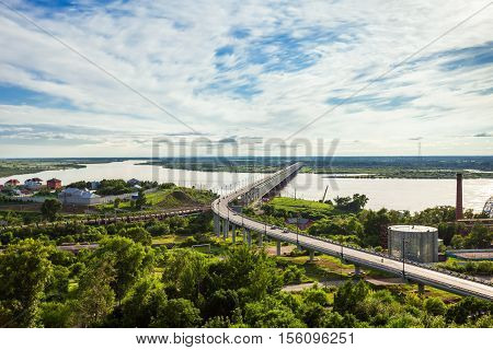 Khabarovsk Bridge Crosses Amur