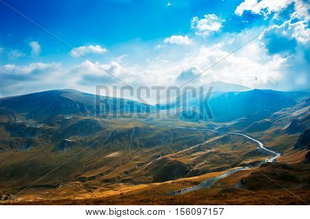 Transalpina the highest altitude road in Romania crossing the Parang mountains