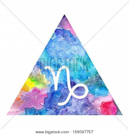 Capricorn zodiac sign on watercolor triangle background. Astrology symbol