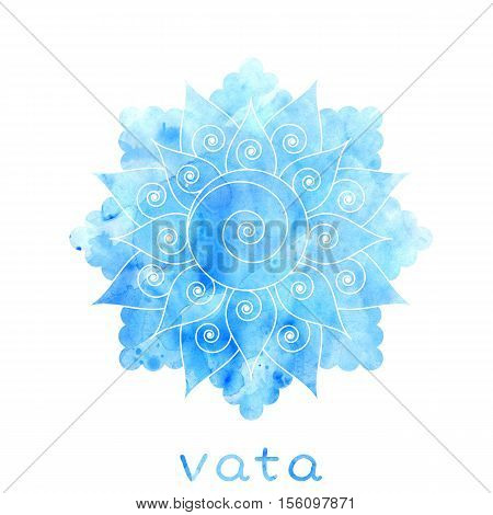 Vata dosha abstract symbol with watercolor texture. Ayurvedic body type