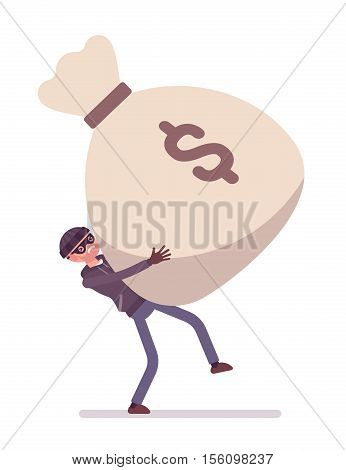 Thief holding with effort a giant heavy money sack. Cartoon vector flat-style concept illustration