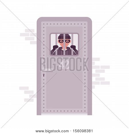 Thief imprisoned looking through the jail metal bars. Cartoon vector flat-style concept illustration