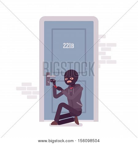 Thief ineffectually lockpicking the front door using special tools. Cartoon vector flat-style concept illustration