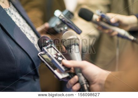 Group Of Journalists Interviewing Female Politician
