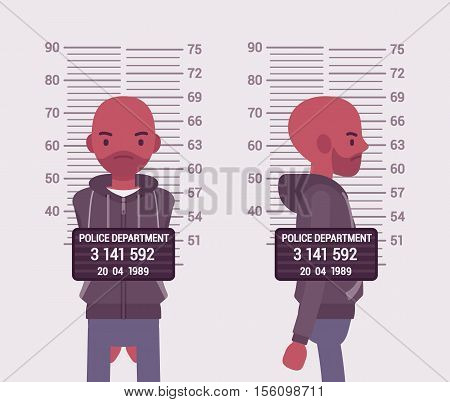 Mugshot of a young black man taken after arrest. Cartoon vector flat-style concept illustration