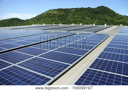 Solar PV Rooftop System walkway for services with Mountain and Sky Background