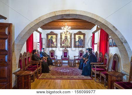 Patmos Greece - May 16 2010: Meeting of priests in the Agios Joannis Theologos Monastry