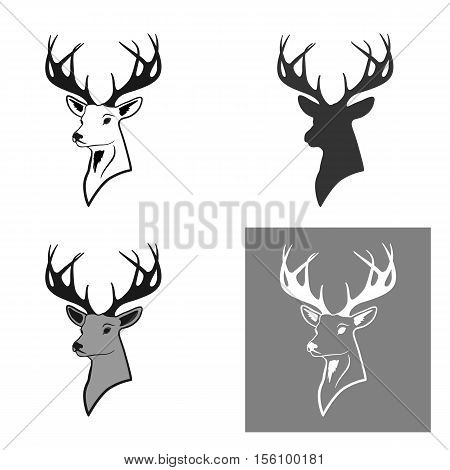 deer head with antlers. a set of four pieces. pattern and silhouette. isolate on white background