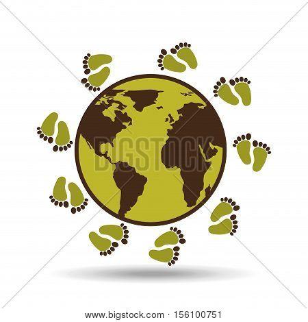 map earth environment ecological green footprints vector illustration eps 10