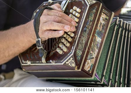 Man playing the bandoneon traditional tango instrument Argentina. Close view.